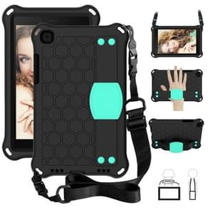 For  Galaxy Tab A8.0 T290 / T295?2019? Honeycomb Design EVA + PC Four Corner Anti Falling Flat Protective Shell With Straps(Black + Mint)