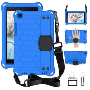 For  Galaxy Tab A8.0 T290 / T295(2019) Honeycomb Design EVA + PC Four Corner Anti Falling Flat Protective Shell With Straps(Blue+Black)