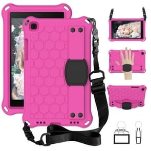 Voor Galaxy Tab A8.0 T290 / T295(2019) Honeycomb Design EVA + PC Four Corner Anti Falling Flat Protective Shell With Straps (Rose +black)