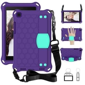 Voor Galaxy Tab A8.0 T290 / T295(2019) Honeycomb Design EVA + PC Four Corner Anti Falling Flat Protective Shell With Straps (Purple + Mint)