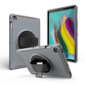 For iPad 10.2 2019   360 Degree Rotation PC + Silicone Protective Case with Holder & Hand-strap(Gray)
