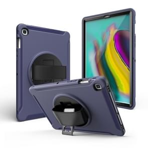 For Galaxy Tab S6 10.5 T860/T865/T867 2019 360 Degree Rotation PC + Silicone Protective Case with Holder & Hand-strap(Dark Blue)