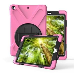 For iPad 10.2 (2019)360 Degree Rotation PC + Silicone Protective Case with Holder & Hand-strap(Pink)
