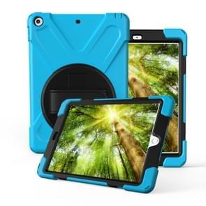 Voor iPad Pro10.5 / Air 10.5 2019 360 Graden Rotatie PC + Siliconen beschermhoes met houder & handriem(lichtblauw)