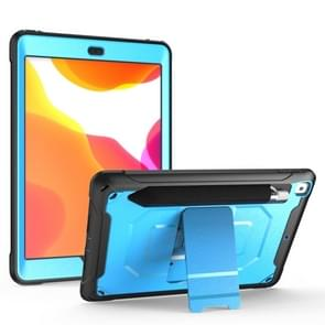 For iPad 9.7 (2018) & (2017)  360 Degree Rotation PC + Silicone Protective Case with Holder & Hand-strap(Light Blue)