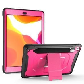 Voor iPad Pro 10 5/Air 10 5 360 graden rotatie PC + siliconen beschermhoes met houder & hand-strap (Rose rood)
