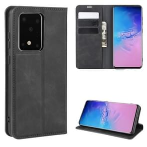 Voor Galaxy S20 Ultra Retro-skin Business Magnetic Suction Leather Case met Holder & Card Slots & Wallet(Black)