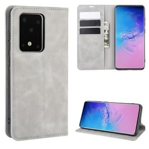 Voor Galaxy S20 Ultra Retro-skin Business Magnetic Suction Leather Case met Holder & Card Slots & Wallet(Grey)