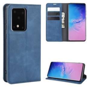 Voor Galaxy S20 Ultra Retro-skin Business Magnetic Suction Leather Case met Holder & Card Slots & Wallet(Dark Blue)