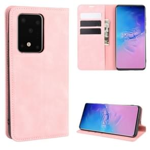 Voor Galaxy S20 Ultra Retro-skin Business Magnetic Suction Leather Case met Holder & Card Slots & Wallet(Pink)