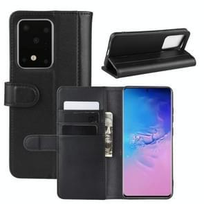 Voor Galaxy S20 Ultra Horizontal Flip Genuine Leather Case met Holder & Card Slots & Wallet(Black)