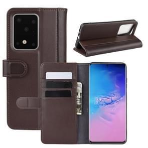Voor Galaxy S11 plus horizontale Flip echte lederen draagtas met houder & kaartsleuven & portemonnee (bruin)