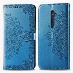 Voor OPPO Reno2 halverwege Mandala reliëf patroon horizontale Flip leergeval, met houder & kaartsleuven & portemonnee & fotolijstjes & Lanyard (blauw)