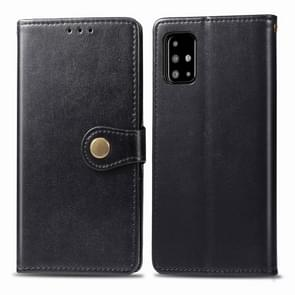 Voor Galaxy A71 Retro Solid Color Lederen Buckle Mobile Phone Protection Leather Case met Photo Frame & Card Slot & Wallet & Bracket Function(Zwart)