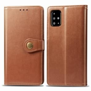 Voor Galaxy A71 Retro Solid Color Lederen Buckle Mobile Phone Protection Leather Case met Photo Frame & Card Slot & Wallet & Bracket Function(Brown)