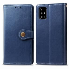 Voor Galaxy A71 Retro Solid Color Lederen Buckle Mobile Phone Protection Leather Case met Photo Frame & Card Slot & Wallet & Bracket Function(Blauw)