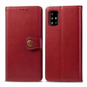 For Galaxy A71 Retro Solid Color Leather Buckle Mobile Phone Protection Leather Case with Photo Frame & Card Slot & Wallet & Bracket Function(Red)