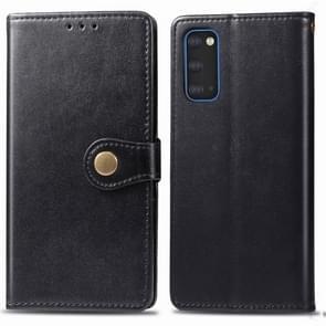 Voor Galaxy S20 Retro Solid Color Lederen Buckle Mobile Phone Protection Leather Case met Photo Frame & Card Slot & Wallet & Bracket Function(Zwart)