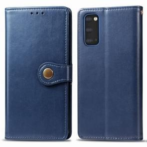 Voor Galaxy S20 Retro Solid Color Lederen Buckle Mobile Phone Protection Leather Case met Photo Frame & Card Slot & Wallet & Bracket Function(Blauw)