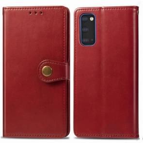 Voor Galaxy S20 Retro Solid Color Lederen Buckle Mobile Phone Protection Leather Case met Photo Frame & Card Slot & Wallet & Bracket Functie (Rood)
