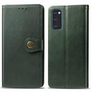 Voor Galaxy S20 Retro Solid Color Lederen Buckle Mobile Phone Protection Leather Case met Photo Frame & Card Slot & Wallet & Bracket Functie(Groen)
