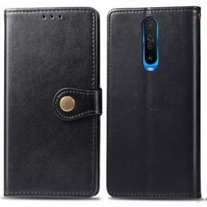 Voor Xiaomi Redmi K30 Retro Solid Color Lederen Buckle Mobile Phone Protection Leather Case met Photo Frame & Card Slot & Wallet & Bracket Function(Zwart)