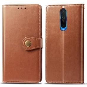 Voor Xiaomi Redmi K30 Retro Solid Color Lederen Buckle Mobile Phone Protection Leather Case met Photo Frame & Card Slot & Wallet & Bracket Function(Bruin)