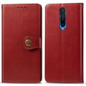 Voor Xiaomi Redmi K30 Retro Solid Color Lederen Buckle Mobile Phone Protection Leather Case met Photo Frame & Card Slot & Wallet & Bracket Function(Red)