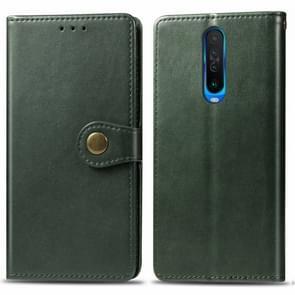 Voor Xiaomi Redmi K30 Retro Solid Color Lederen Buckle Mobile Phone Protection Leather Case met Photo Frame & Card Slot & Wallet & Bracket Function(Groen)