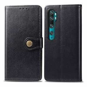 Voor Xiaomi Mi Note10 Pro Retro Solid Color Lederen Buckle Mobile Phone Protection Leather Case met Photo Frame & Card Slot & Wallet & Bracket Function(Zwart)