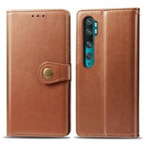 Voor Xiaomi Mi Note10 Pro Retro Solid Color Lederen Buckle Mobile Phone Protection Leather Case met Photo Frame & Card Slot & Wallet & Bracket Function(Bruin)