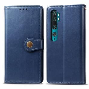Voor Xiaomi Mi Note10 Pro Retro Solid Color Lederen Buckle Mobile Phone Protection Leather Case met Photo Frame & Card Slot & Wallet & Bracket Function(Blauw)