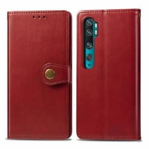 For Xiaomi Mi Note10 Pro Retro Solid Color Leather Buckle Mobile Phone Protection Leather Case with Photo Frame & Card Slot & Wallet & Bracket Function(Red)