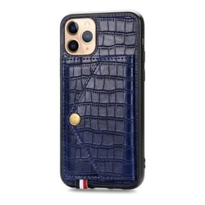 For iPhone 11 Pro Crocodile Pattern PU+TPU+PVC Shatter-resistant Mobile Phone Case with Magnetic Invisible Holder & Holder & Card Slots(Sapphire Blue)