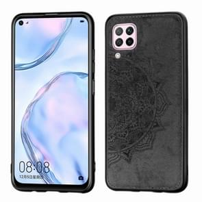 For Huawei Nova 6 SE Mandala Embossed Cloth Cover PC + TPU Mobile Phone Case with Magnetic Function and Hand Strap(Black)