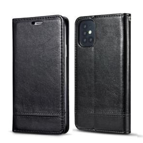 Voor Galaxy S20 Dubbelzijdige Absorptie Splicing Horizontale Flip Lederen Case met Houder Card Slots Lanyard (Zwart)