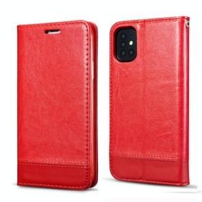 Voor Galaxy S20 Dubbelzijdige Absorptie Splicing Horizontale Flip Lederen Case met Houder Card Slots Lanyard (Rood)
