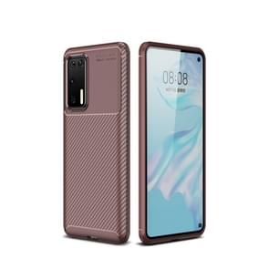 Voor Huawei P40 koolstofvezel textuur schokbestendig TPU case (bruin)