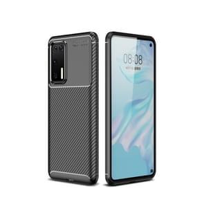 Voor Huawei P40 Pro Carbon Fiber Texture Shockproof TPU Case(Zwart)