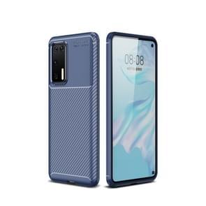 Voor Huawei P40 Pro Carbon Fiber Texture Shockproof TPU Case(Blauw)