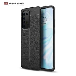 Voor Huawei P40 Pro Litchi Texture TPU Shockproof Case(Zwart)