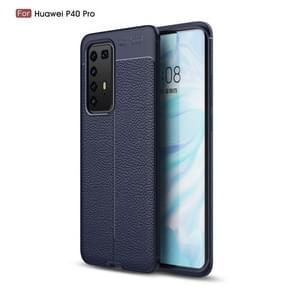 Voor Huawei P40 Pro Litchi Texture TPU Shockproof Case (Navy Blue)