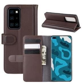 Voor Huawei P40 Pro horizontale Flip echte lederen draagtas met houder & kaartsleuven & portemonnee (bruin)