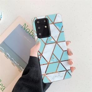 Voor Huawei P40 Plating Kleurrijke geometrische Patroon Mozaïek Marmer TPU mobiele telefoon geval (Groene PJ2)