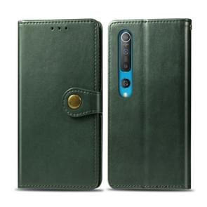 Voor Xiaomi Mi 10 Pro Retro Solid Color Leather Buckle Phone Case met Photo Frame & Card Slot & Wallet & Bracket Functie(Groen)