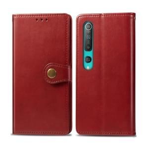 Voor Xiaomi Mi 10 Pro Retro Solid Color Leather Buckle Phone Case met Photo Frame & Card Slot & Wallet & Bracket Functie(Rood)