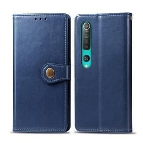 Voor Xiaomi Mi 10 Pro Retro Solid Color Leather Buckle Phone Case met Photo Frame & Card Slot & Wallet & Bracket Functie(Blauw)