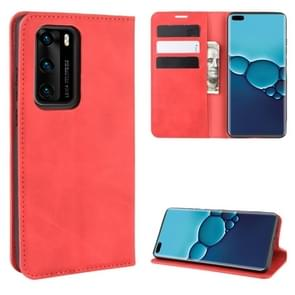 Voor Huawei P40 Retro-skin Business Magnetic Suction Leather Case met Holder & Card Slots & Wallet(Red)