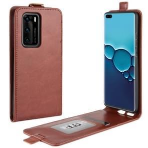 Voor Huawei P40 R64 Texture Single Vertical Flip PU Lederen Case met Card Slots & Photo Frame(Brown)