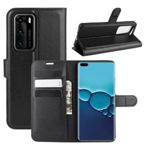 Voor Huawei P40 Litchi Texture Horizontal Flip Protective Case met Holder & Card Slots & Wallet(Black)